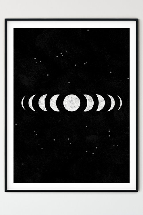 Moon phases wall art. Gothic, Modern Witch, Grunge aesthetic home decor. Tarot-style, occult artwork print