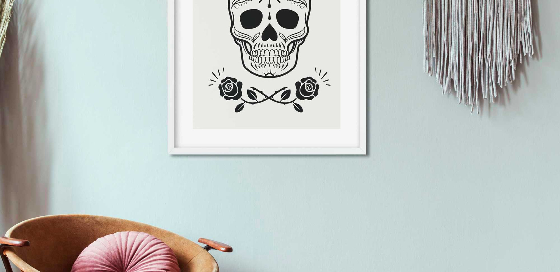 Sugar Skull With Roses • Wall Art