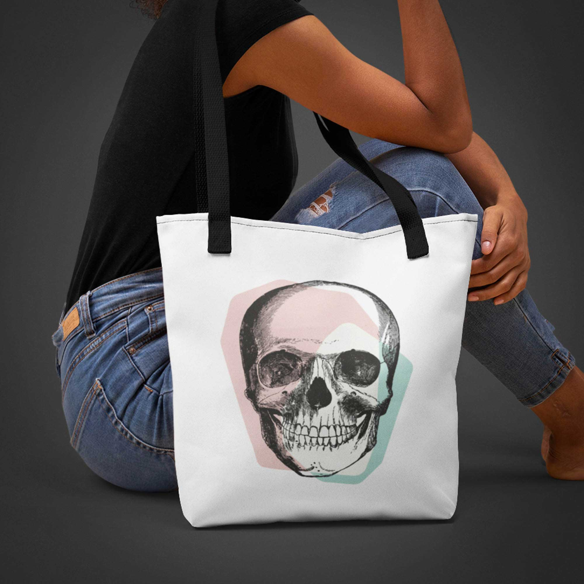 Skull Tote Bag. A Pastel Goth fashion accessory.