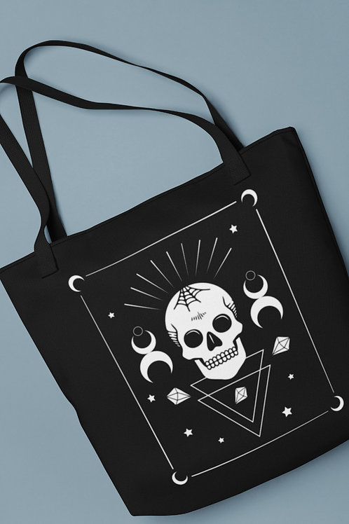 Goth aesthetic tote bag with skull, moon and crystals. Grunge girl fashion and Grunge boy accessory, Alternative style .