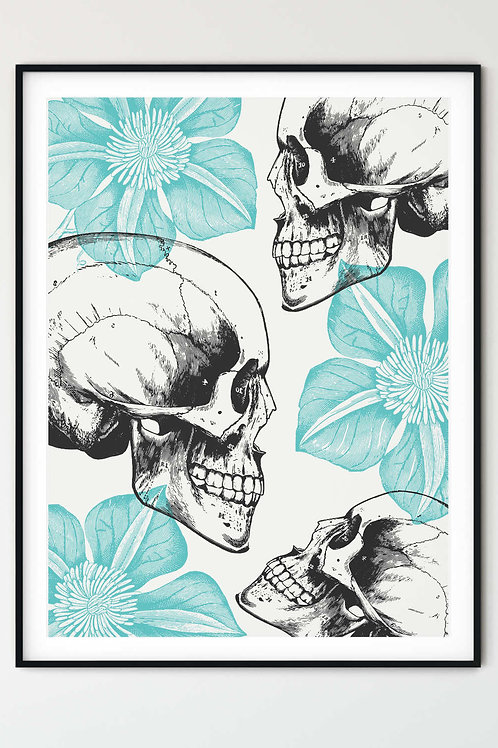 Skulls and flowers wall art. Romantic Gothic home decor for Grunge and Goth girls, Alternative aesthetic for your home.
