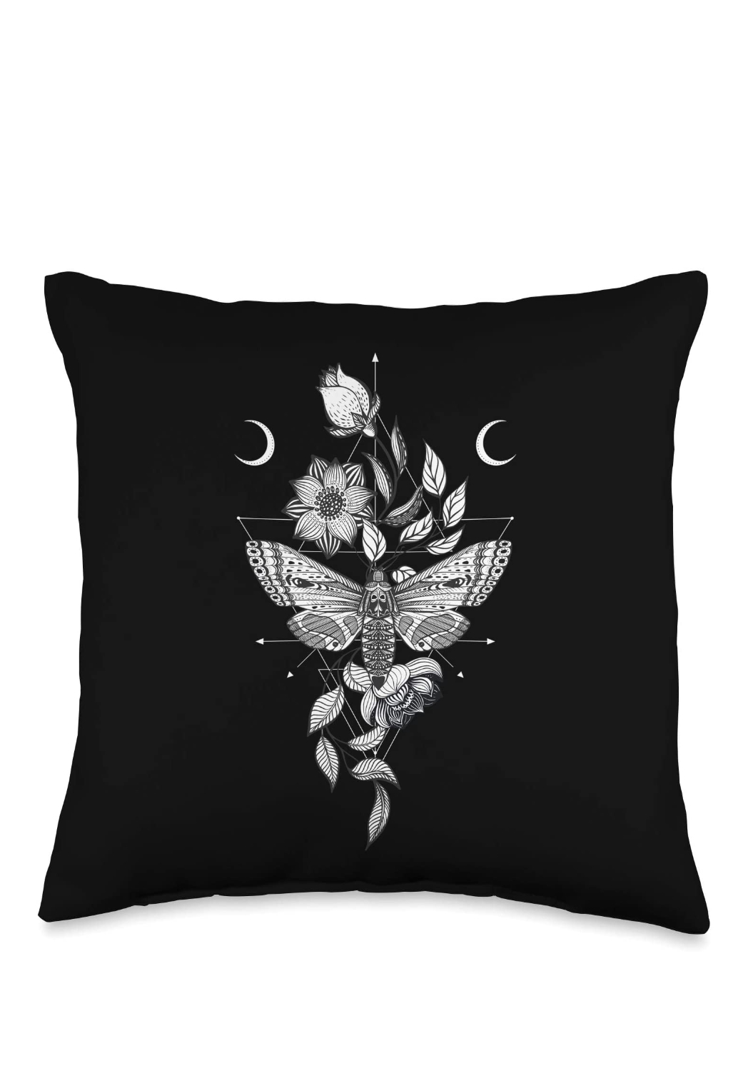 Witchy Moth Throw Pillow