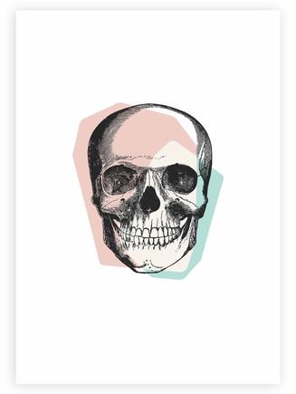 Skull • Pastel Pink & Blue • Wall Art
