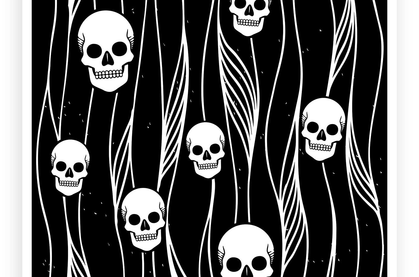 Skulls Pattern B&W • Wall Art