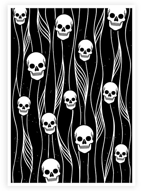 Minimalistic Skull Pattern in black and white. Nu-Goth, Modern Witch, Grunge style PRINTABLE WALL ART for your Gothic home.