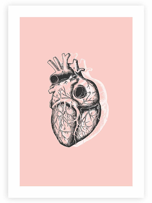 Anatomical Heart PRINTABLE WALL ART in pink. Modern, minimalistic Pastel Goth home decor.