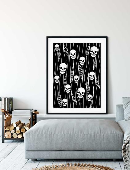 Skulls Pattern B&W • Wall Art