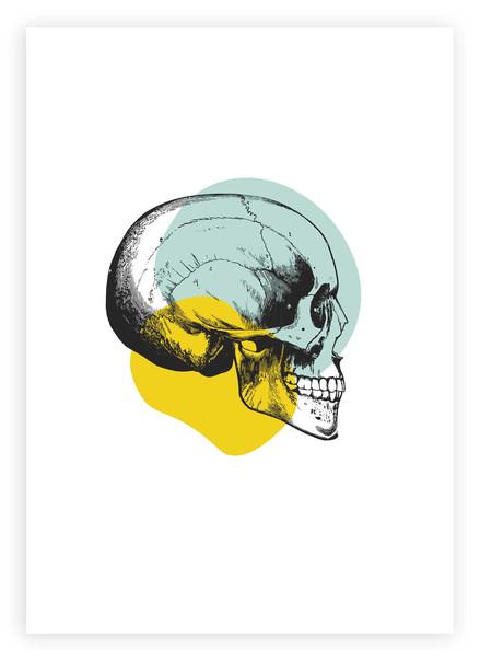 Skull Wall Art | Yellow & Pastel Blue