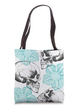 Skulls_Flower_Turquoise_Tote_Bag