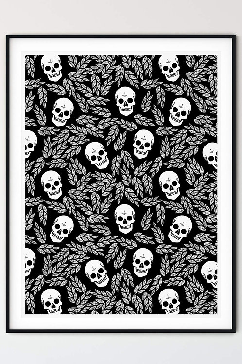 Skull & Leaves wall art. Gothic home decor in Goth, Grunge and Alternative aesthetic. Modern Witch print and wall art.