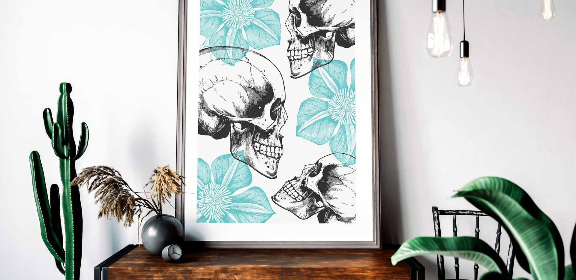Skulls And Flowers Wall Art