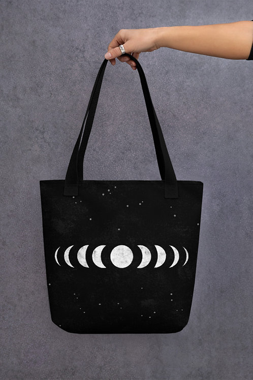 Moon Phases tote bag. Grunge girl aesthetic and a Modern Witch fashion accessory.