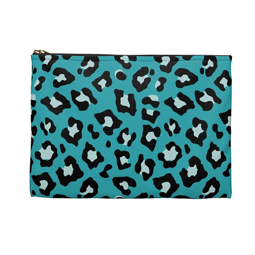 Leopard Print Zipper Pouch • Turqouise