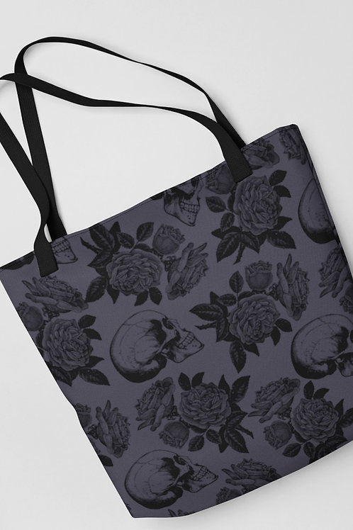 Skulls and roses tote bag. Romantic Goth aesthetic and Grunge style for your dark wardrobe.