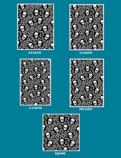 Skulls & Leaves Pattern Wall Art • Sizes