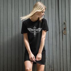 Goth Girl Shirtdress, T-Shirt Dress with Death Moth, Skull Moth