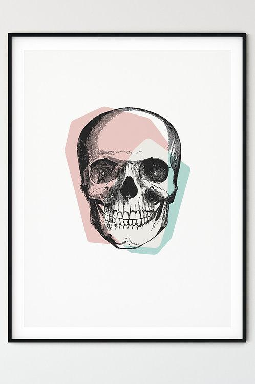 Pastel Goth Skull wall art. Goth girl, Goth women home decor. Skull print in pastel pink.