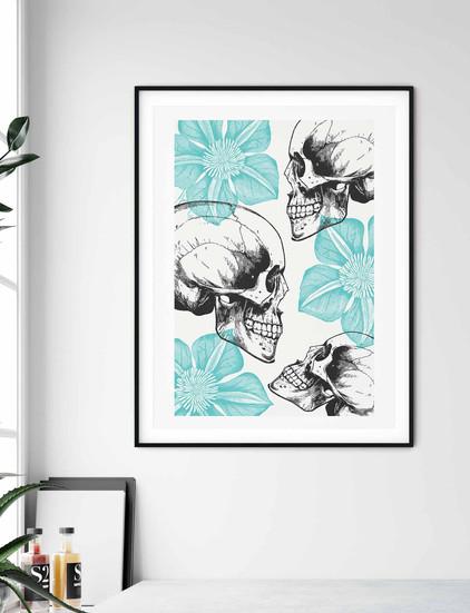 Skulls And Flowers Wall Art