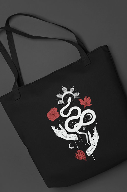Tote bag with Tarot symbols. Witch clothing, Witch bag, Gothic fashion accessory.