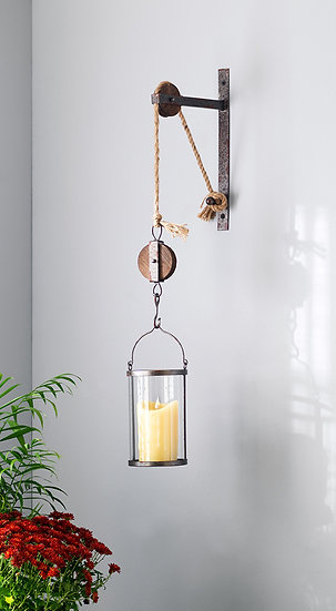 Rustic Pulley Mounted Canister