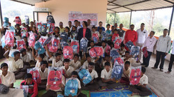A school poses with their gifts!