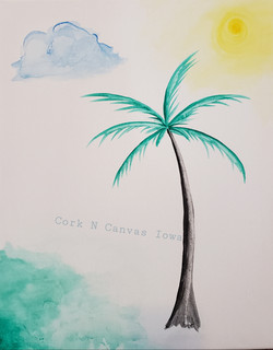 Water Color Palm Tree