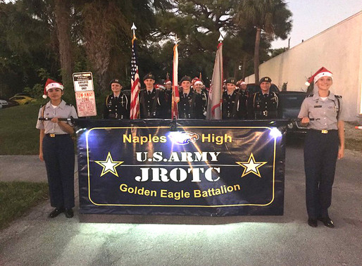 Cadets March In Naples Christmas Parade