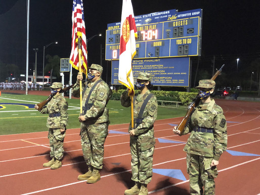Naples JROTC Color Guard Celebrates Senior Night Football Game