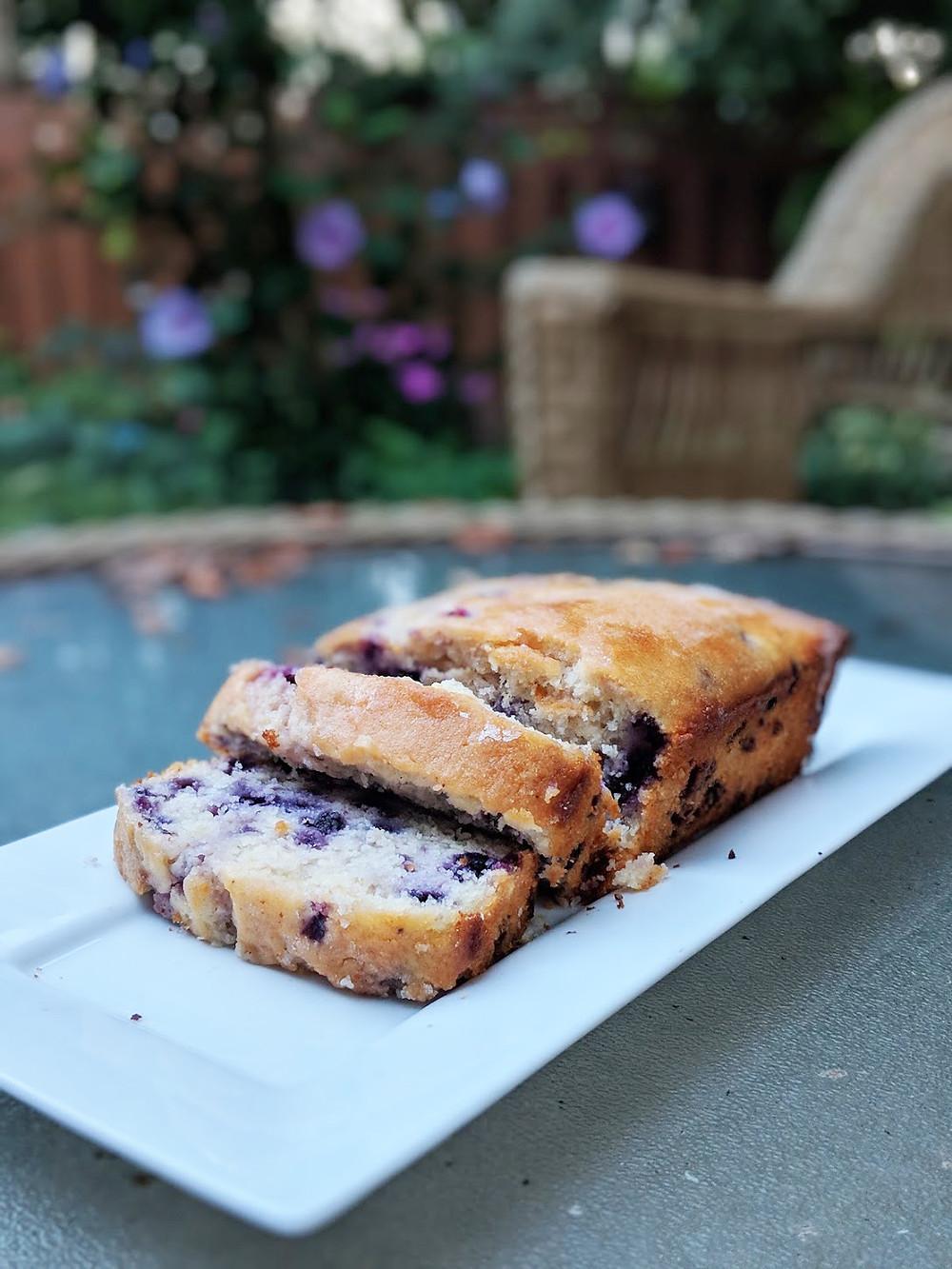 Dairy-free lemon blueberry bread made with Original Hippie Mylk