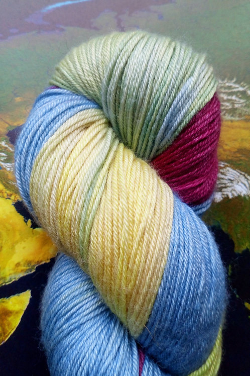TIMID RAINBOW -  4ply fingering Merino and Silk