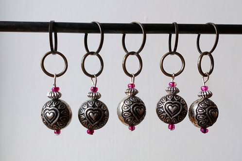 STITCH MARKERS x 5 - Metal beads