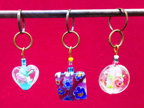 STITCH MARKERS x 3 -  Glass beads