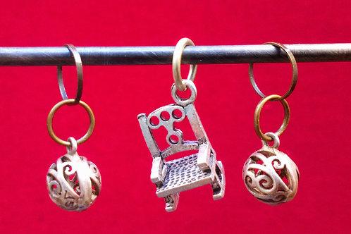 STITCH MARKERS x 3 - Metal beads