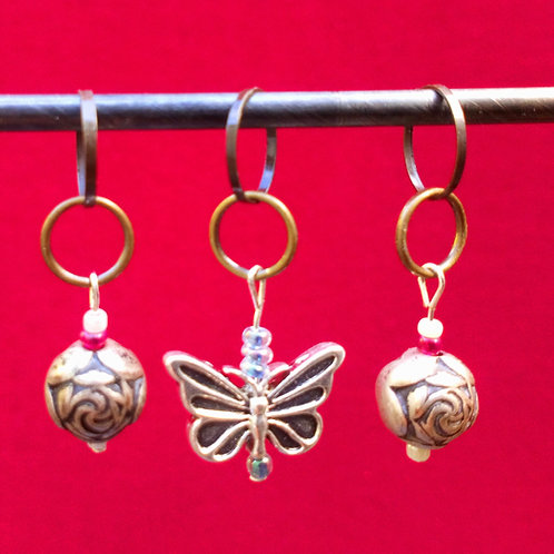 STITCH MARKERS x 3 -  Metal beads