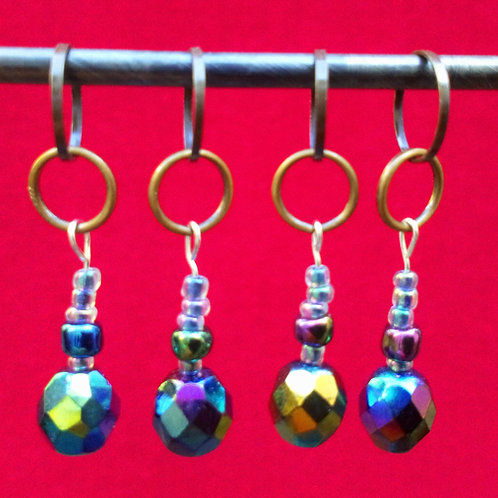 STITCH MARKERS x 4 - Irridescent Glass beads