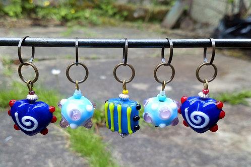 STITCH MARKERS x 5 - Lampwork Glass beads