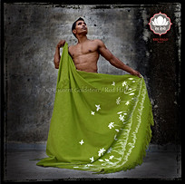 "Throw style ""Saawan"" - Col. Chartreuse - 150x200 - 100% Wool"