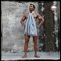 "Scarf style ""Sitaar"" - Col. Grey/Arctic - 100% Wool"