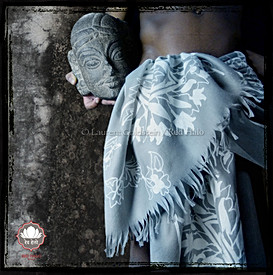 "Scarf style ""Jaisalmer"" - Col. Grey/White - 200x70 - 100% Wool"