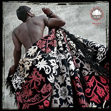"Throw style ""Rajput"" - Col Black - 150x200 - 100% wool"