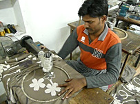 The making of a Aari embroidery in the Red Halo workshop