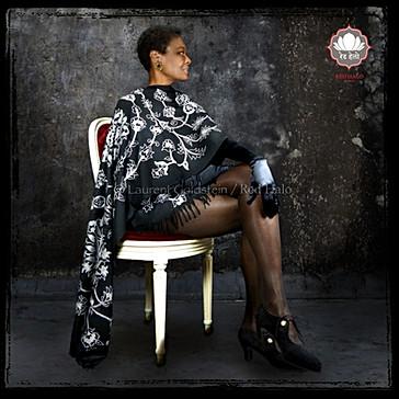 "Scarf style ""Jaisalmer - Col. Black/White - 200x70 - 100% Wool"