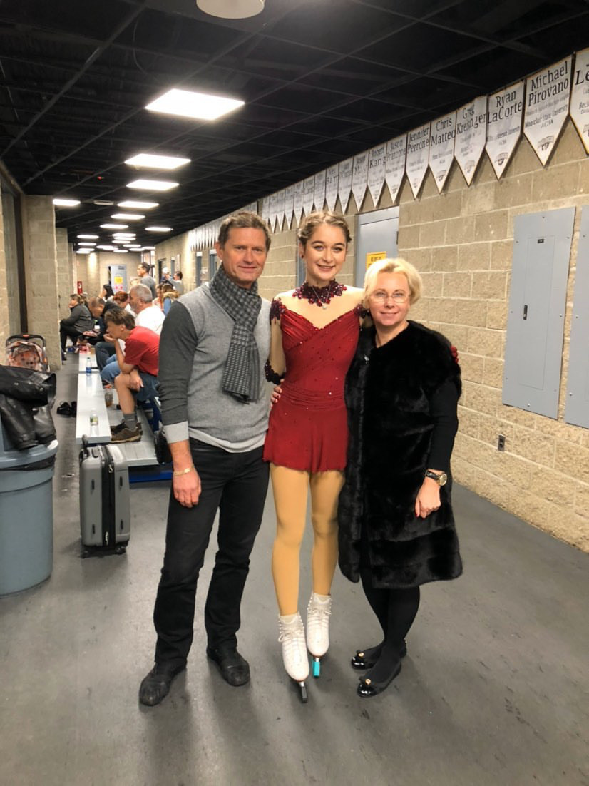 Claire Macedonia with Oleg Makarov and Larisa Selezneva at a competition at Ice House, New Jersey