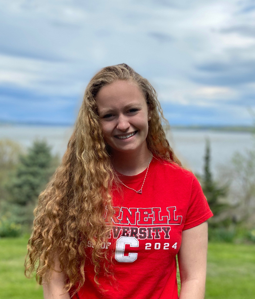 Hannah Zollner of Cornwall wearing Cornell University Spirit Wear.