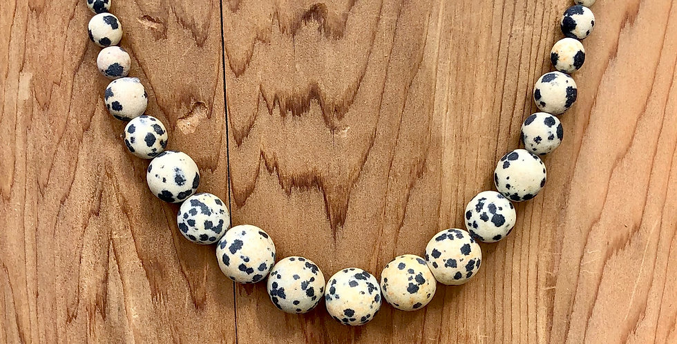 Frosted Dalmation Jasper & Sterling Silver Necklace (Large)