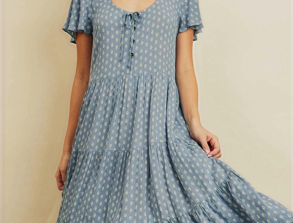 Paisley Dot Flutter Sleeve Midi Dress