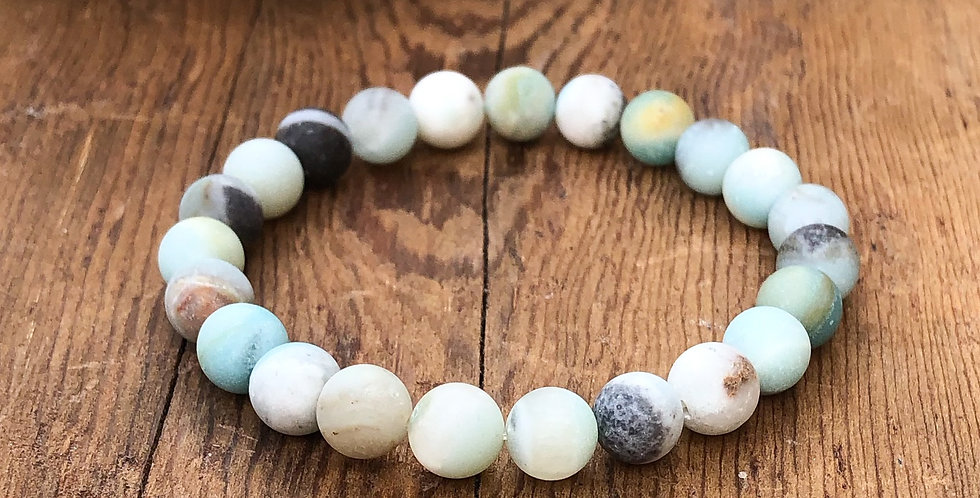 Frosted Multicoloured Amazonite Stretch Bracelet