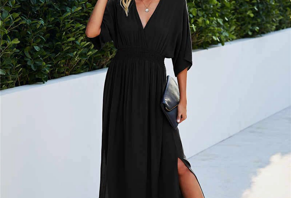 Flowy Sleeve Maxi dress in Black