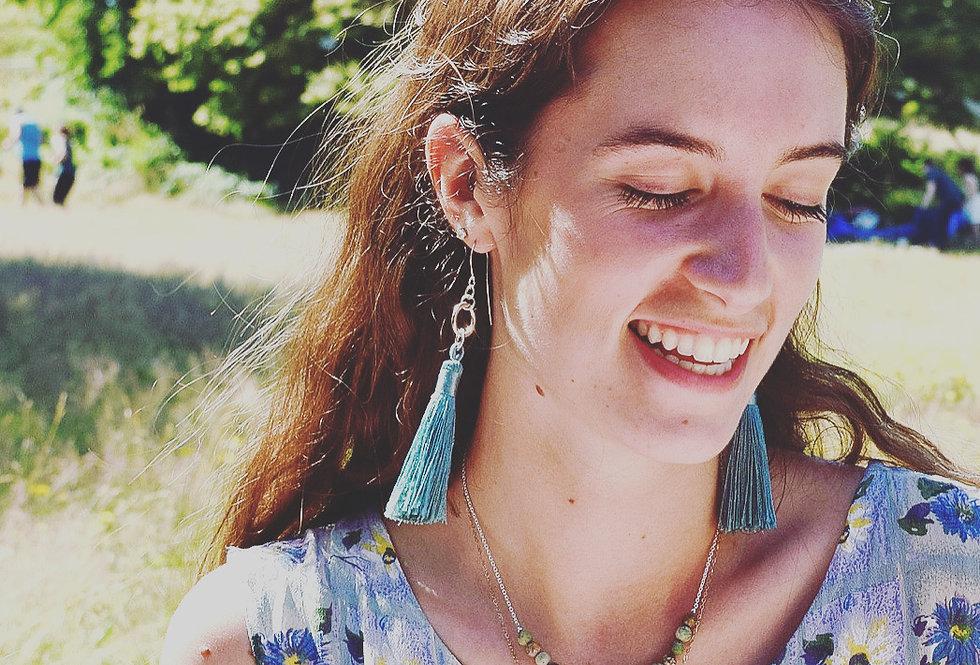 Silk Tassel & Sterling Silver Earrings