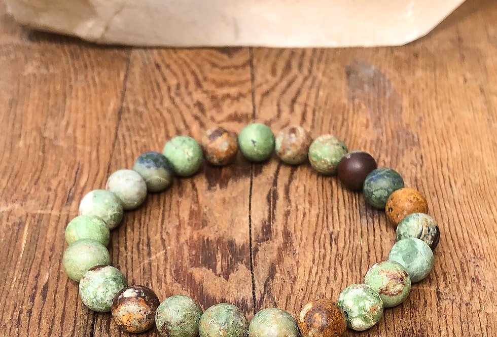 Frosted Green Opal Stretch Bracelet